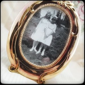 Vtg Precious metal frame w/ antique creepy photo